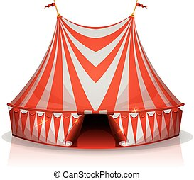 Illustration of a cartoon big top circus tent, with red and white stripes, for funfair and carnival holidays, isolated on white