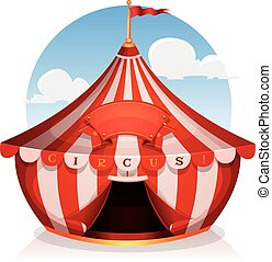 Big Top Circus With Banner - Illustration of cartoon white...