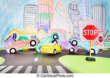 Big traffic accident at crossing in the toy city - Big...