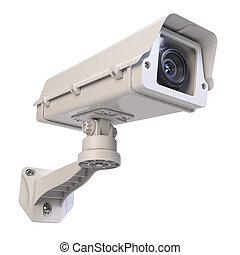 Big traffic camera isolated on white background