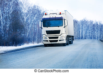trailer goes on the winter road