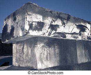ice - big translucent ice blocs in the sunshine: ...