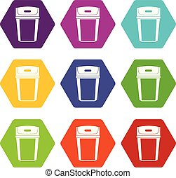 Big trashcan icon set color hexahedron