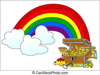 Big treasure chest and rainbow