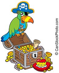 Big treasure chest with pirate parrot - isolated...