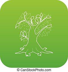 Big tree icon green vector
