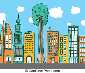 Big tree standing among city buildings