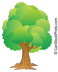 Big tree with green treetop - vector illustration.