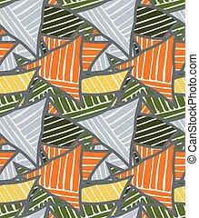 Big triangles orange green striped