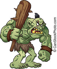 Big troll - Big cartoon troll holding a club. Vector clip...