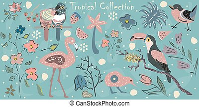 Big Tropical Collection with exotic birds. Flamingo, Parrots, toucan, Australian bird kiwi, small bird plus tropical plants and flowers. Hand Drawn Elements with brushstroke