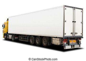Big Truck - A Big Yellow and White Semi Trailer Truck