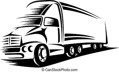 Big delivery truck moving on road for transportation design or concept