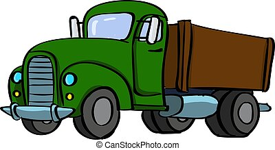 Big truck, illustration, vector on white background.
