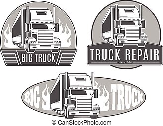 Big truck. Set of vector logos.