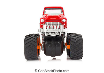 big truck toy color red isolated on white background