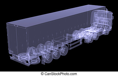 Big truck tractor. Isolated render of an X-ray