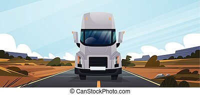Big Truck Trailer Driving On Road In Contryside Front View of Vahicle Delivery Natural Landscape
