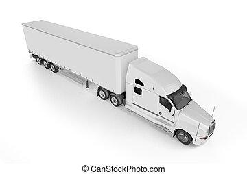 Big Truck Trailer - on white background