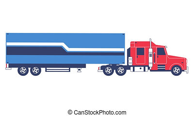 Big truck with trailer delivering cargo. Looped animation...