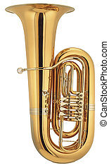 big tuba on isolated background