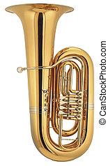big tuba on isolated background