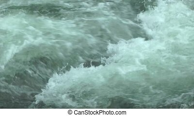 Big Turbulent water flowing closeup