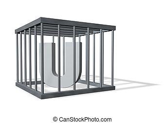 big U in a cage
