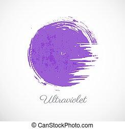 Big ultraviolet purple grunge circle on white background....