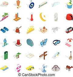 Big vacation icons set, isometric style
