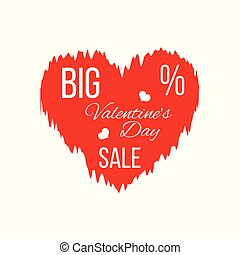 Big Valentine's Day Sale Banner with Red Wrinkled Heart