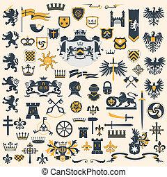 Big vector collection - Heraldic Design Elements