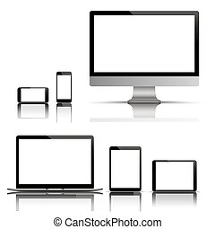 Big Vector Set Black Monitor Notebook Tablet Smartphone