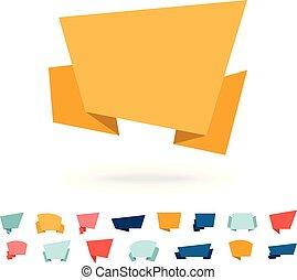 Big vector set - flat origami paper speech bubbles