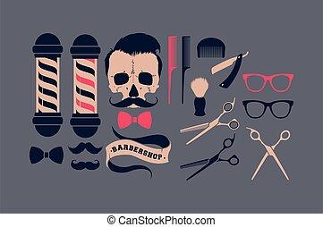 Big vector set of barber shop supplies