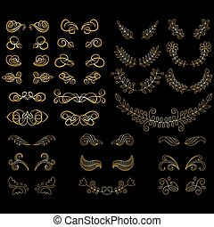 Big vector set of calligraphy page decoration elements with wreaths, laurels, swirls.