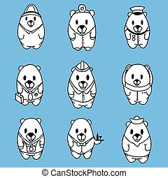 Big vector set of cartoon bears