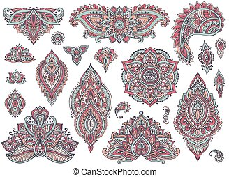 Big vector set of colorful henna floral elements