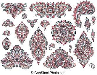 Big vector set of colorful henna floral elements