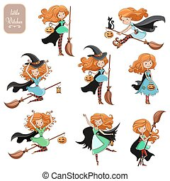 Big vector set of cute little witch