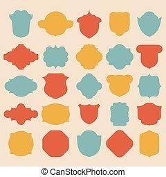 Big vector set of different color labels.