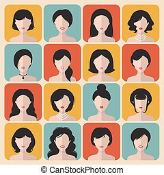 Big vector set of different haircuts women app icons in flat style.