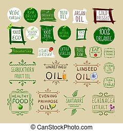 Big VECTOR set of different healthy eating labels, isolated stickers set.
