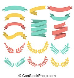 Big vector set of different laurels, wreaths and ribbons in modern flat style.