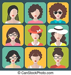 Big vector set of different women app icons in flat style.