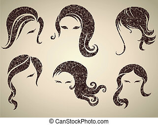 v - Big vector set of grunge vintage hair styling for woman...