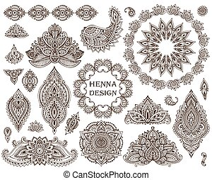 Big vector set of henna floral elements and frames