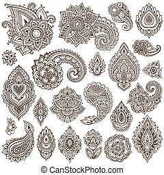 Big vector set of henna floral elements