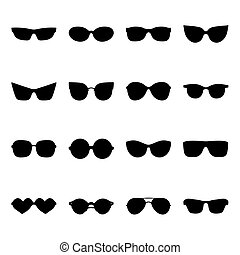 Big vector set of icons of different shapes sunglasses in...