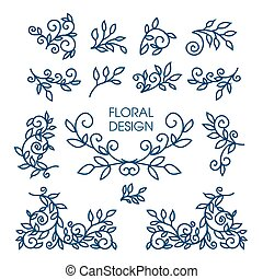 Big Vector set of line floral design elements for logos, frames and borders